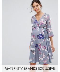 Bluebelle Maternity | Приталенное Платье С Запахом Рукавами Клеш И Цветочным Принтом