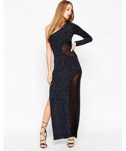 Asos | Платье Макси На Одно Плечо С Сетчатой Вставкой И Блестками
