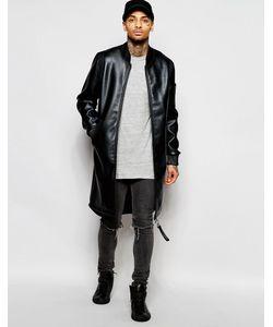 Dark Future | Черная Удлиненная Куртка-Пилот Из Искусственной Кожи Черный
