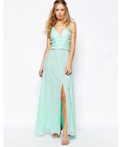 JARLO | Платье Макси С Оборкой И Разрезом По Центру Зеленая
