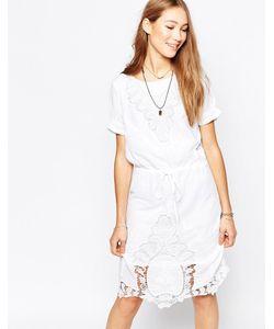 ICHI | Цельнокройное Платье С Короткими Рукавами И Кружевом Белый