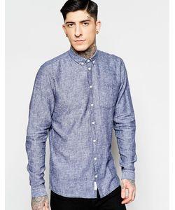 Minimum | Синяя Фактурная Хлопковая Рубашка Классического Кроя 693 Dark Iris