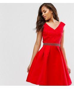 Little Mistress Tall | Платье Для Выпускного С Открытыми Плечами Кружевным Лифом И Декорированным Поясом