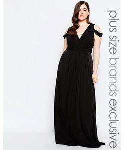 Forever Unique Plus | Платье Макси С Глубоким Вырезом Черный