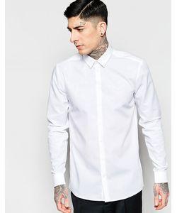 Minimum | Белая Стретчевая Рубашка Зауженного Кроя Из Хлопка Белый