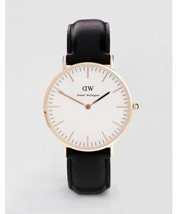 Daniel Wellington | Черные Классические Большие Часы С Отделкой Из Розового Золота
