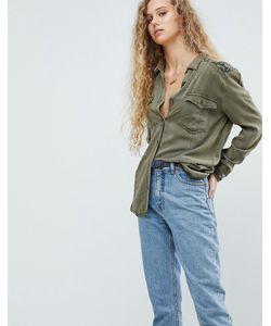 Pepe Jeans London   Рубашка В Стиле Милитари С Вышивкой На Плече