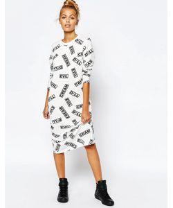 Mini Cream | Кремовое Облегающее Платье С Принтом Evil Cream Mini
