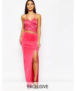 NaaNaa | Платье Макси С Запахом И Бретелями Сзади Peacock Pink