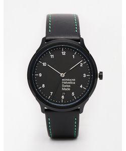 Mondaine   Часы С Кожаным Ремешком Helvetica Ny Черный
