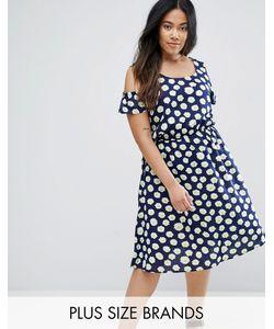 NVME | Платье С Открытыми Плечами И Цветочным Принтом Plus