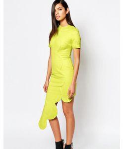 8th Sign | Платье С Асимметричным Фигурным Подолом The Шартруз