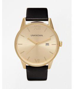 UNKNOWN | Часы С Черным Кожаным Ремешком И Золотистым Циферблатом