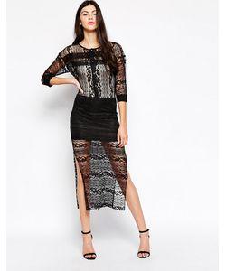 Ukulele | Кружевное Платье Миди Solange Черный