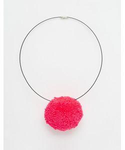 Suzywan DELUXE   Ожерелье Из Черного Шнура С Помпоном Suzywan Sweet Pompom Розовый