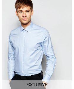 Number Eight Savile Row | Рубашка Скинни С Заостренным Воротником Небесно-Голубой