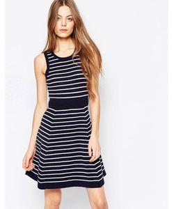 harlyn | Приталенное Платье Со Свободной Юбкой Темно-Синяя Полоска