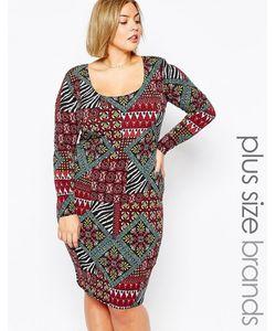 Goddiva plus | Трикотажное Платье Размера Плюс С Гобеленовым Принтом Goddiva