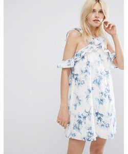 J.O.A | Цельнокройное Платье С Открытыми Плечами Оборкой И Цветочным Принтом
