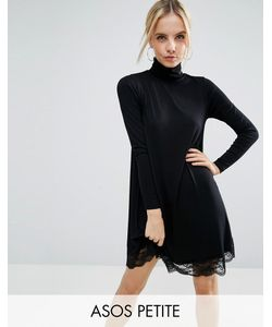 ASOS PETITE | Свободное Платье С Кружевным Низом И Воротником-Поло