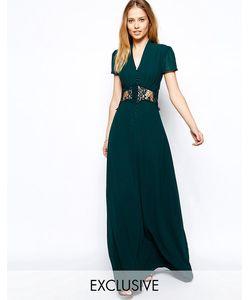 JARLO | Платье Макси С Коротким Рукавом И Кружевной Вставкой Kelly