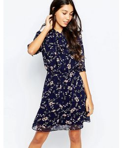 Style London   Короткое Приталенное Платье С Бантом И Принтом В Мелкий Цветочек Style