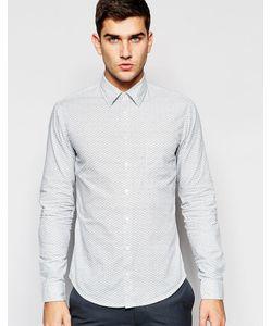 BOSS Orange | Рубашка Слим С Волнообразным Принтом Белый