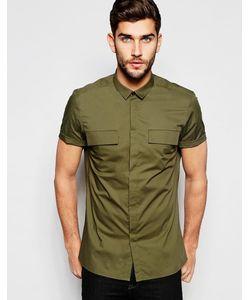 Asos | Рубашка Классического Кроя В Стиле Милитари Цвета Хаки Хаки