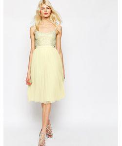 Needle & Thread | Тюлевое Платье С Отделкой Coppelia Лимонный