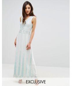 Maya | Платье Макси С Отделкой Vintage Мятный Оттенок