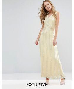 Maya | Платье Макси С Отделкой Vintage Пастельно-Желтый