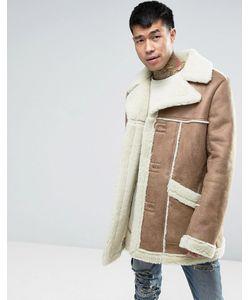 Asos | Пальто Из Искусственной Цигейки Цвета Кэмел