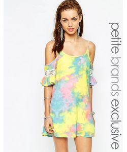 Tiger Mist Petite | Платье-Туника Расцветки Тай-Дай С Открытыми Плечами И Кружевной Отделк