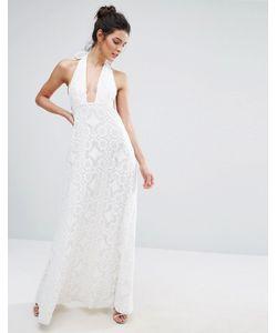True Decadence | Кружевное Платье Макси Для Выпускного С Халтером Белый