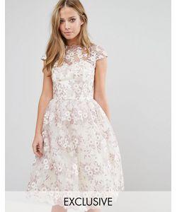 Chi Chi London | Платье Миди Из Цветочного Кружева С Широким Вырезом
