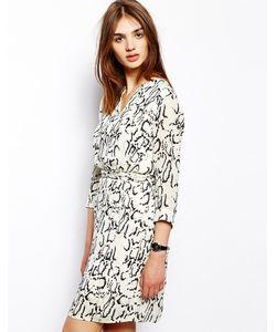 BZR | Платье Со Змеино-Леопардовым Принтом И Поясом На Талии