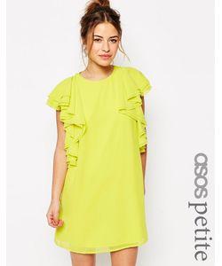 ASOS PETITE | Цельнокройное Платье Мини С Рюшами Желтый