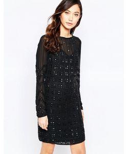Virgos Lounge | Платье Мини С Геометрической Отделкой Virgos Lounge Xenia Черный