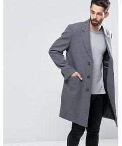 Asos | Светло-Серое Меланжевое Пальто С Добавлением Шерсти
