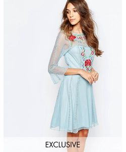 Frock and Frill | Приталенное Платье С Вышивкой Светло-Голубой