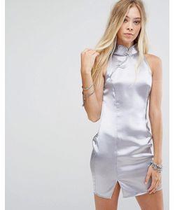 Glamorous | Атласное Платье А-Силуэта С Высоким Воротом