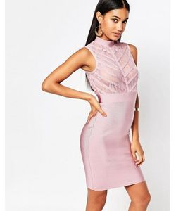WOW Couture | Бандажное Облегающее Платье С Кружевным Лифом