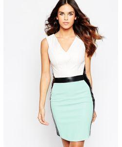 Hybrid | Платье Миди С Vобразным Вырезом И Контрастными Вставками