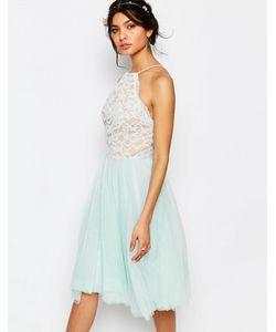 JARLO | Кружевное Платье С Халтером И Тюлевой Юбкой Edie Мятный