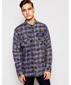 Zee Gee Why | Выбеленная Рубашка В Синюю И Черную Клетку С Удлиненной Кромкой Zee