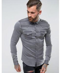 Asos | Джинсовая Облегающая Рубашка В Стиле Вестерн