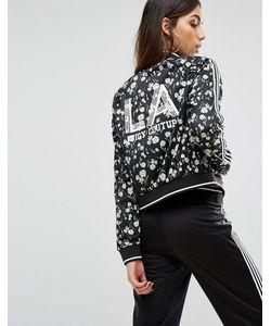 Juicy Couture | Черная Трикотажная Куртка С Цветочным Принтом И Полосками