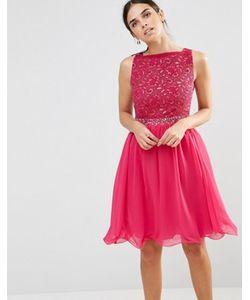 Laced In Love | Розовое Приталенное Платье Со Свободной Юбкой