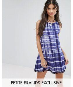 Glamorous Petite | Цельнокройное Платье Без Рукавов С Принтом Тай-Дай И Помпонами