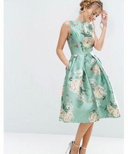 Chi Chi London | Атласное Платье Миди С Цветочным Принтом